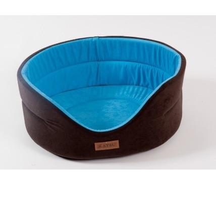 Лежанка для собак Katsu Suedine M, размер 52х46х19см., коричневый/голубой