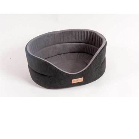 Лежанка для собак Katsu Suedine  M, размер 52х46х19см., черный/серый
