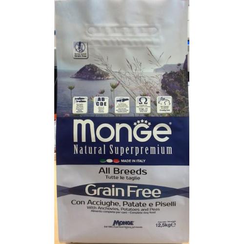 Monge Dog корм для собак Monge GRAIN FREE, 12 кг, анчоусы с картофелем и горохом