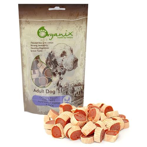 Лакомство для собак Organix Chicken fillet/ cod chips