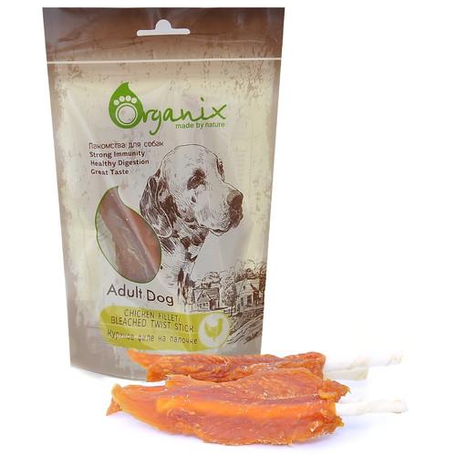 Лакомство для собак Organix Chicken fillet/ bleached twist stick