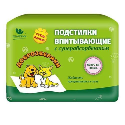 Пеленки для собак и кошек Пелигрин Доброзверики Доброзверики, размер 60х90см., 30 шт.