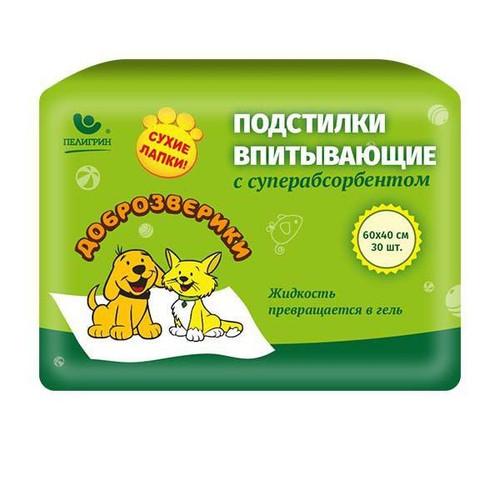 Пеленки для животных Пелигрин Доброзверики Super, размер 60х40см., 30 шт.