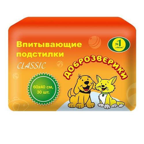 Пеленки для животных Пелигрин Доброзверики Super Classic, размер 60х40см., 30 шт.